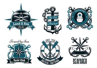 Retro marine and nautical heraldic emblems