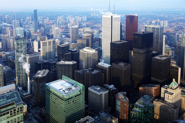 Aerial view of the Toronto city center at dusk