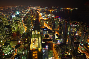 Aerial view of Toronto, Canada at night