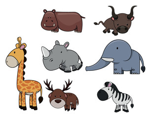 Wild animal : Giraffe,hippo,bull,rhinocerros,zebra,deer and elephant
