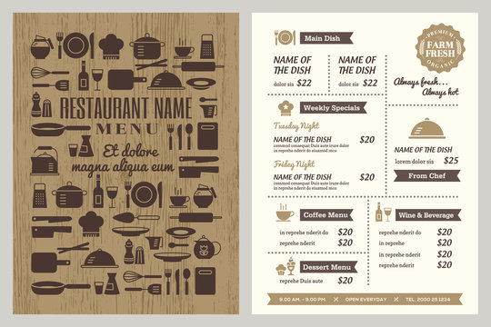 Restaurant menu design template with random utensils icon pattern on cover