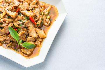 Thai cuisine spicy pork salad, Moo Nam Tok.