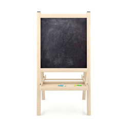 Blank blackboard on wooden stand isolated on white background
