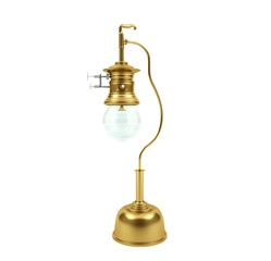 Vintage brass metal gas lamp isolated on white background