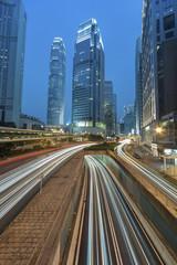 Hong Kong city at dusk with busy traffic
