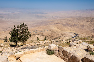Holy Land, view from the Mount Nebo, the place where Moses was granted a view of the Promised Land that he would never enter.