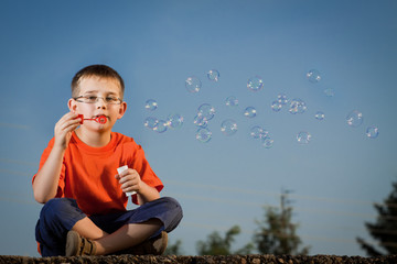 Boy with soap bubbles