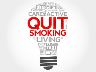 Quit Smoking bulb word cloud, health concept
