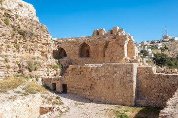 Ruins of the Kerak Castle, a large crusader castle in Kerak (Al Karak) in Jordan.