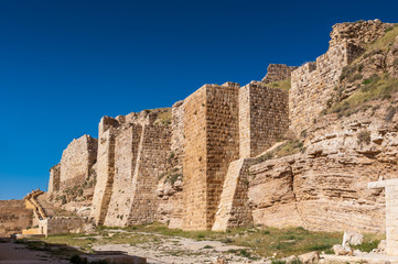 Walls of the Kerak Castle, a large crusader castle in Kerak (Al Karak) in Jordan.