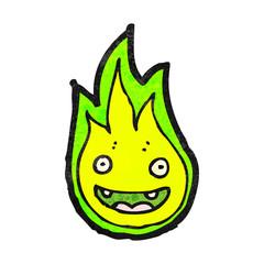 cartoon green flame spirit