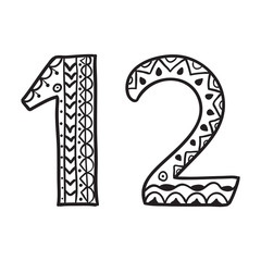 Hand Drawn doodle numbers vector illustration.