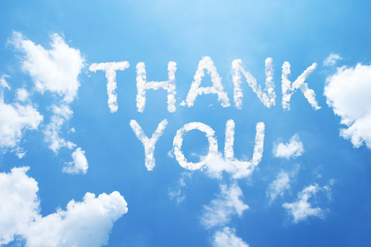 """""""thank you"""" a cloud word on sky"""