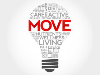 MOVE bulb word cloud, health concept