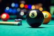 Billiard balls in pool hall