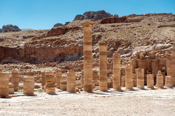 Roman columns of the Great temple complex in Petra (Rose City), Jordan. The city of Petra was lost for over 1000 years. Now one of the Seven Wonders of the Word