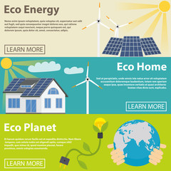 Eco energy horizontal banner set with green home planet