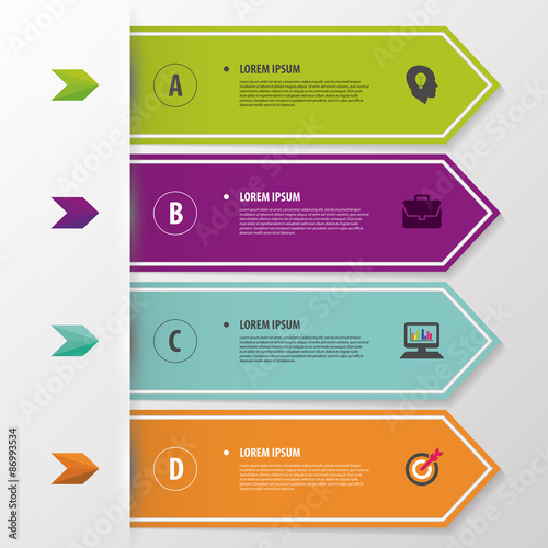 Colorful Modern Infographic Banner Origami Style Template Vector