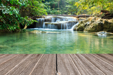 Vintage wooden texure with beautiful waterfall in morning.