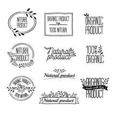 Logotypes set. Badges, labels,ribbons,plants elements,wreaths