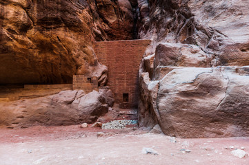 Canyon in Petra (Red Rose City). The city of Petra was lost for over 1000 years. Now one of the Seven Wonders of the Word