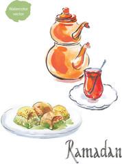 Ramadan and watercolor turkish tea with turkish baklava