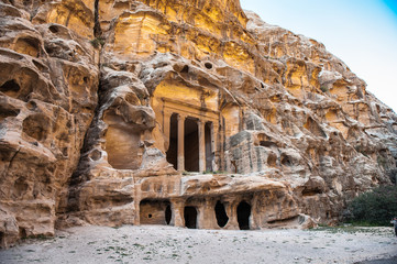 Nabataean delubrum of the Siq al-Barid (Little Petra) in Jordan.