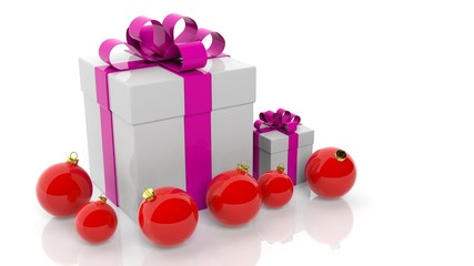 Gift box with pink ribbon and red Christmas balls isolated on white