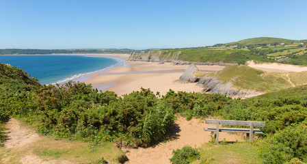 Wall Mural - The Gower Peninsula Wales uk Pobbles beach by Three Cliffs Bay