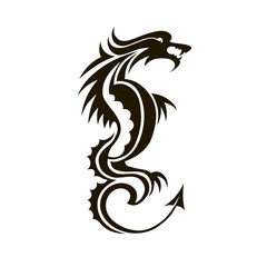 Isolated dragon stencil