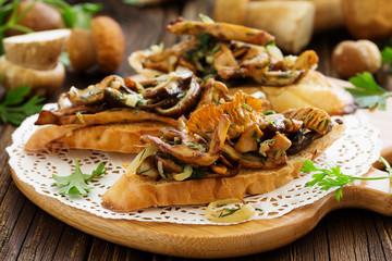 Bruschetta with roasted wild mushrooms.