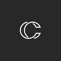 Logo C monogram modern letter, mockup elegant business card, overlapping symbol