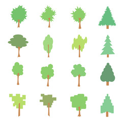 Set of stylized flat tree icons, vector illustration, isolated o