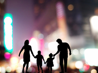 family in the neon background