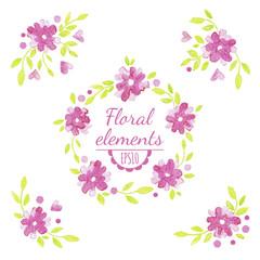 Vector watercolor floral set.