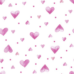 Vecor watercolor seamless pattern with hearts