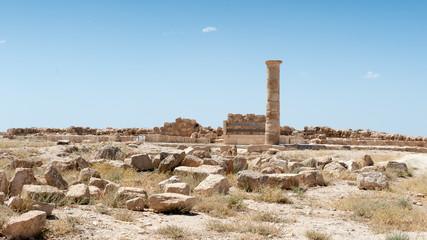 Column in the Herod Castle ruins, Machaerus, fortified hilltop palace in Jordan