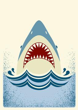 Shark jaws.Vector color illustration