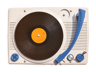 Old vinyl turntable player with record isolated on white