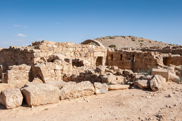 Ruins of a Roman house in Umm ar-Rasas,an archeological site in Jordan. UNESCO World heritage