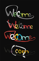 Welcome word, drawn lettering typographic element
