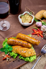 Grilled sausage with vegetables and mustard