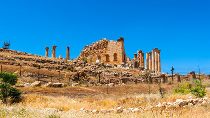Zeus temple of the Ancient Roman city of Gerasa, modern Jerash, Jordan