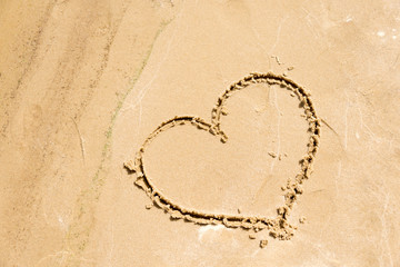 Shape of the heart in the sand on the beach.