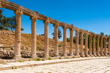 Colonnade on the Roman Oval Forum,  Ancient Roman city of Gerasa, modern Jerash, Jordan