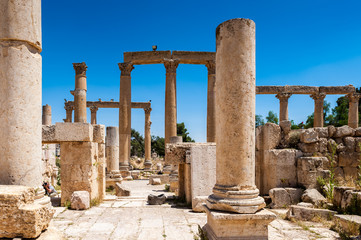 Columns of the cardo maximus, Ancient Roman city of Gerasa, modern Jerash, Jordan