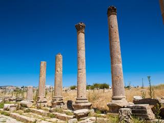 Columns of the cardo maximus, Ancient Roman city of Gerasa of Antiquity , modern Jerash, Jordan