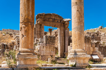 Columns of the cardo maximus, Ancient Roman city of Gerasa of Antiquity , modern Jerash, Jordan