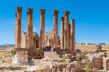Artemis Temple, Ancient Roman city of Gerasa of Antiquity , modern Jerash, Jordan