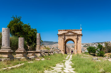 North Gate, Ancient Roman city of Gerasa of Antiquity , modern Jerash, Jordan